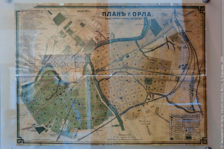 Бумажная карта города. Планъ г. Орла.
