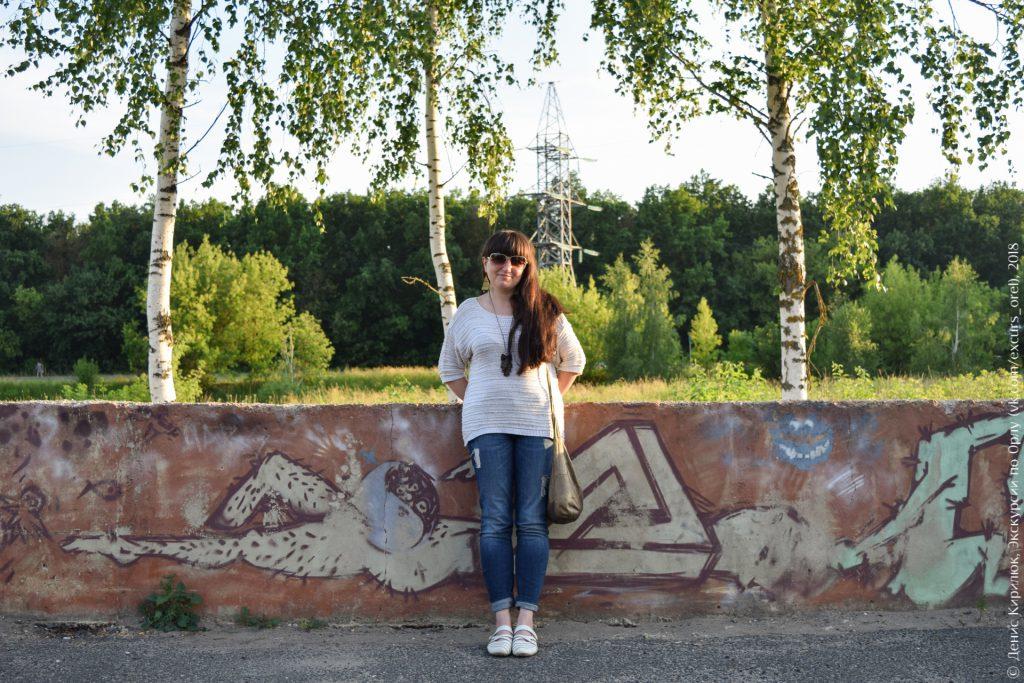 Девушка, берёзы, граффити, ЛЭП