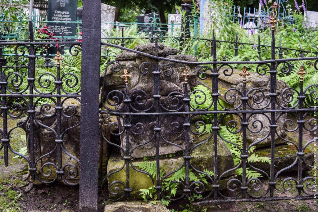 Белокаменные саркофаги на кладбище и папоротник