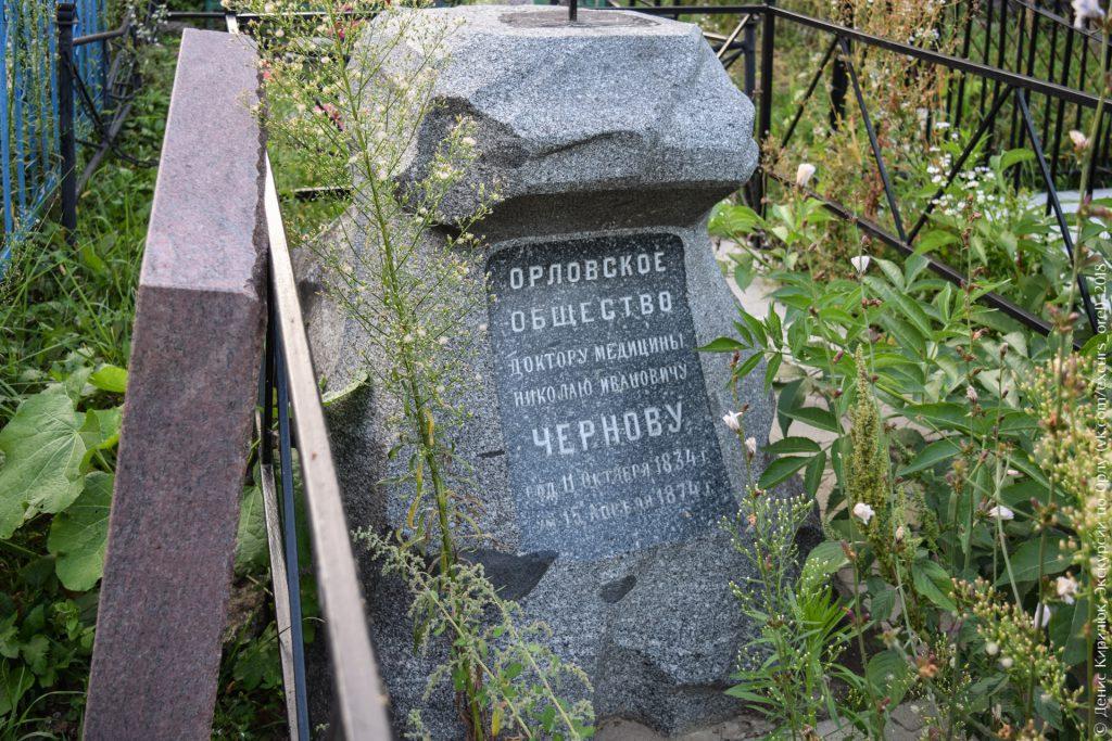 Надгробие с надписью «Орловское общество доктору медицины Николаю Ивановичу Чернову»