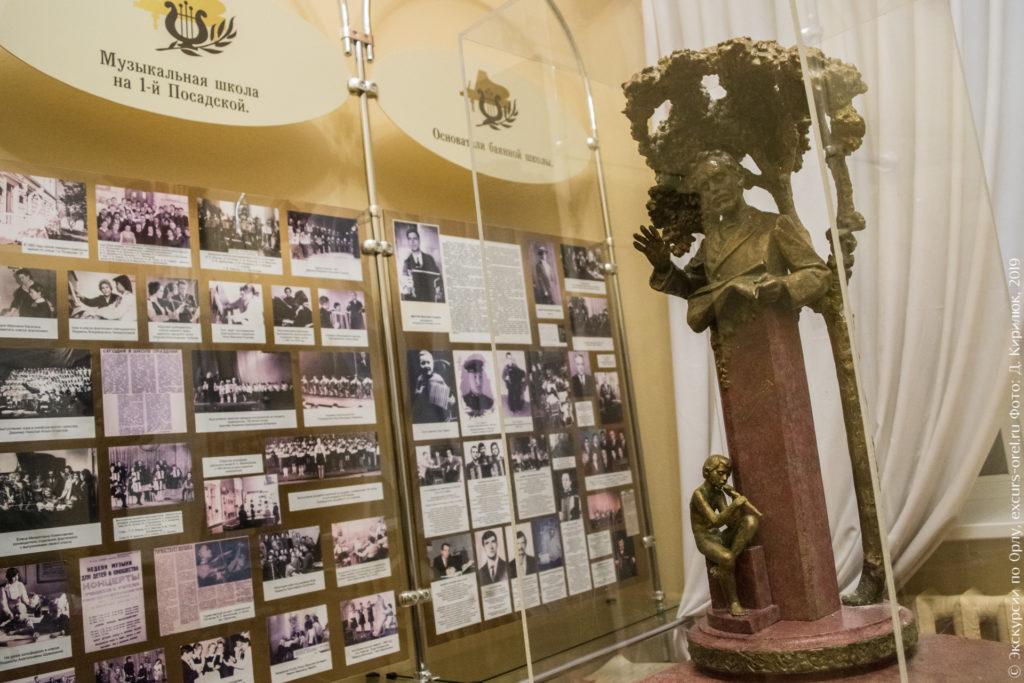 Стенды со старыми фотографиями и метровый макет памятника за стеклом.