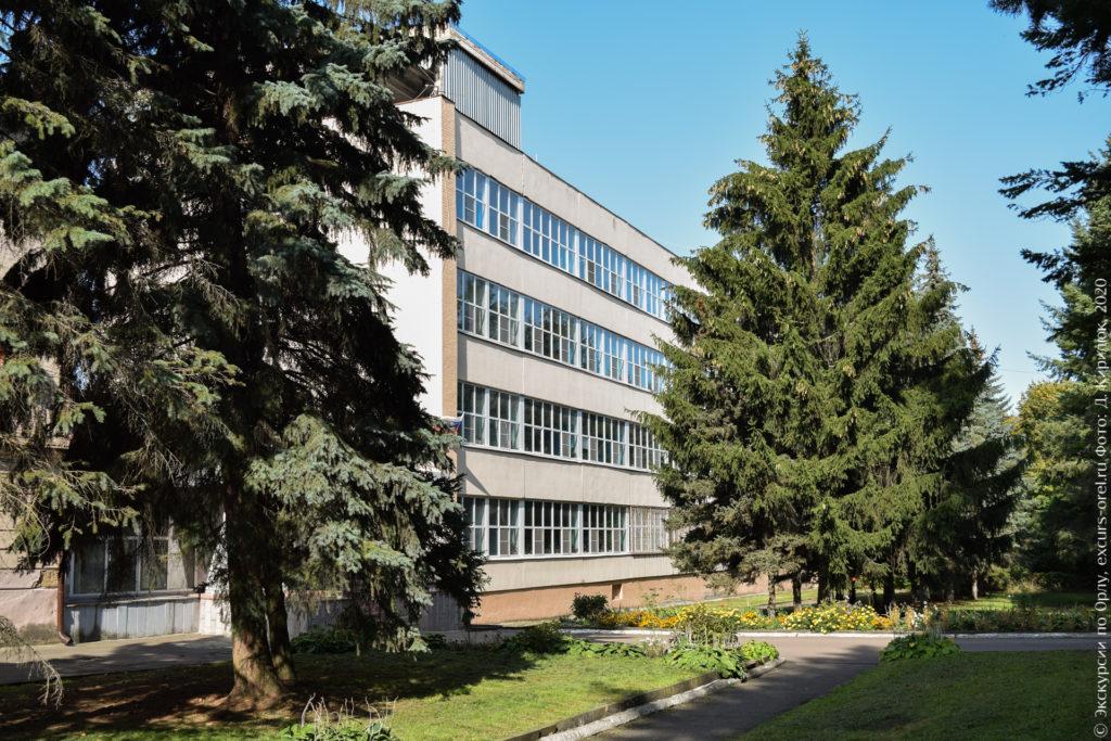 4-этажное административное здание за соснами.