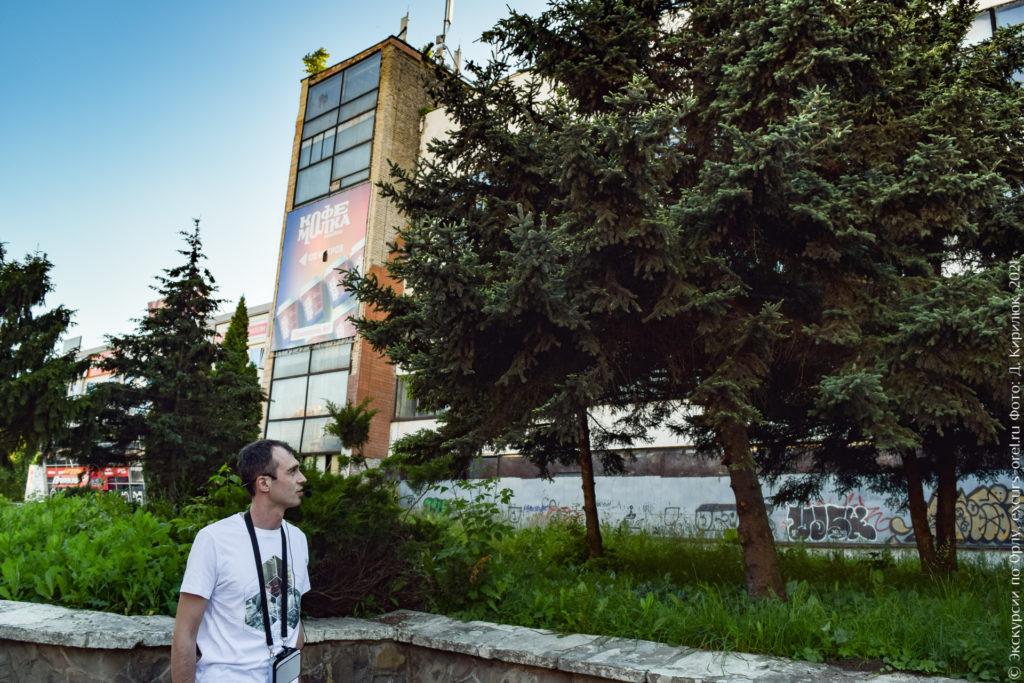 Промышленное здание за соснами.