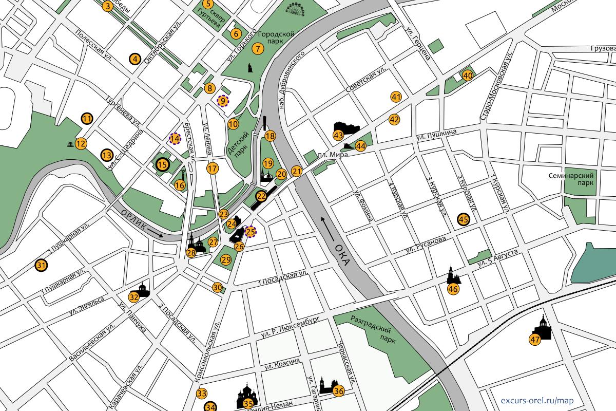 Карта центра города Орла с изображениями зданий и памятников.