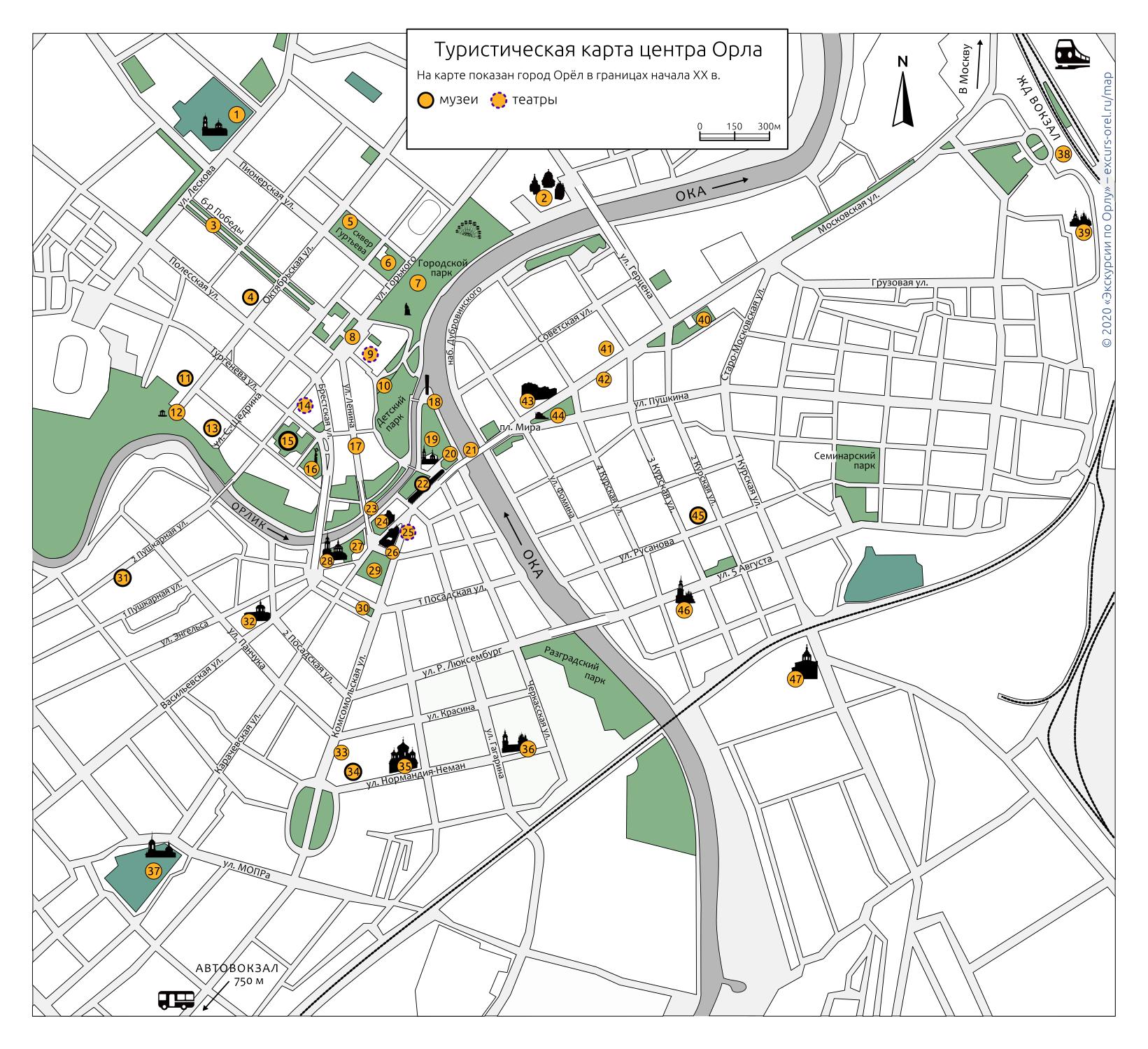 Карта города Орла в границах начала 20 века с изображениями зданий и памятников.