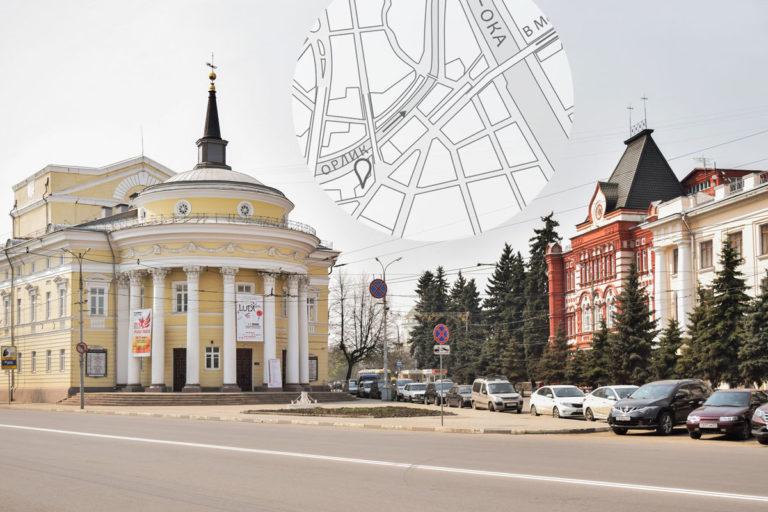 Здания магистрата и банка в Орле и карта центра Орла.