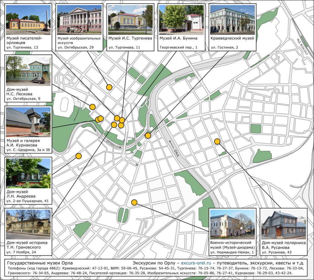 Карта города Орла с адресами и расположением 12-ти музеев.