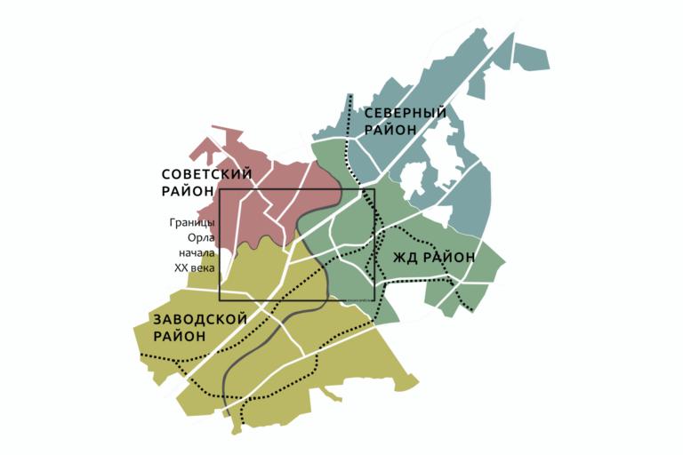 Схематичная карта Орла с обозначением всех 4 районов - Заводского, Железнодорожного, Советского и Северного.